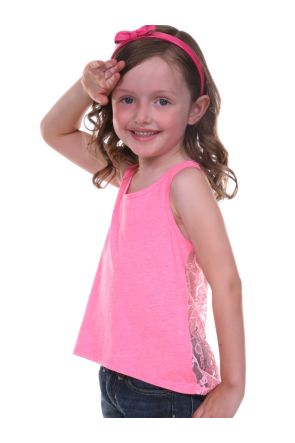 Girls 3-6X Jersey High Low Lace Back Tank