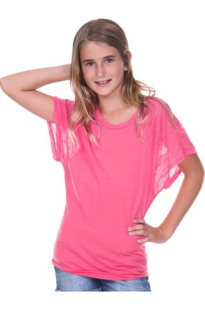 Girls 7-16 Scoop Neck Contrast Raglan Dolman Short Sleeve