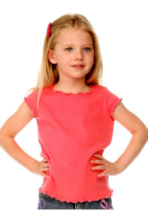 Girls 3-6X Lettuce Edge Scoop Neck Cap Sleeve Top
