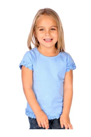 Girls 3-6X Crew Neck Lettuce Edge Short Sleeve