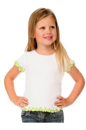 Girls 4-6X Lettuce Edge Short Sleeve Top