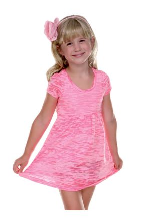 Girls 3-6X Striped Burnout Baby Doll Short Sleeve Dress