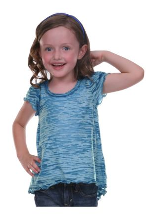Girls 3-6X Burnout High Low Flutter Sleeve Top