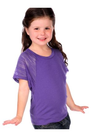 Girls 3-6X Scoop Neck Contrast Raglan Dolman Short Sleeve