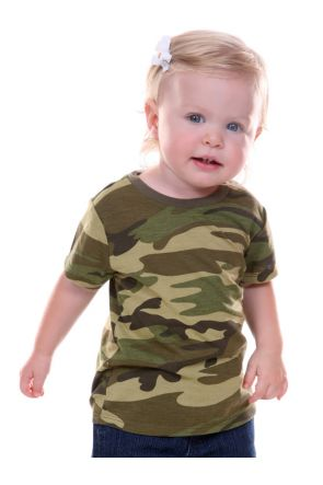 Unisex Infants Camouflage Crew Neck Short Sleeve Tee